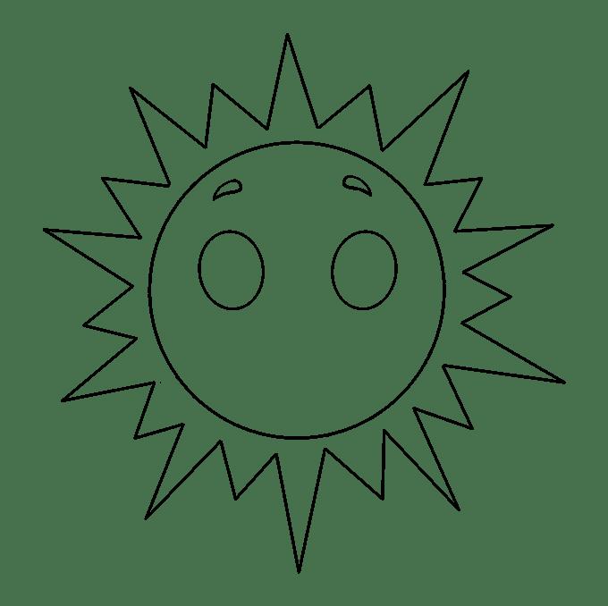 Cách vẽ mặt trời: Bước 7