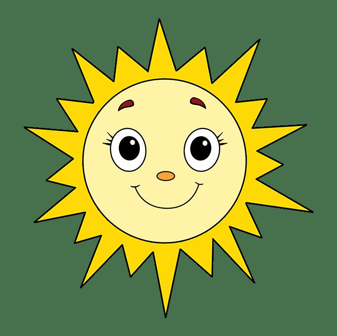 Cách vẽ mặt trời: Bước 10