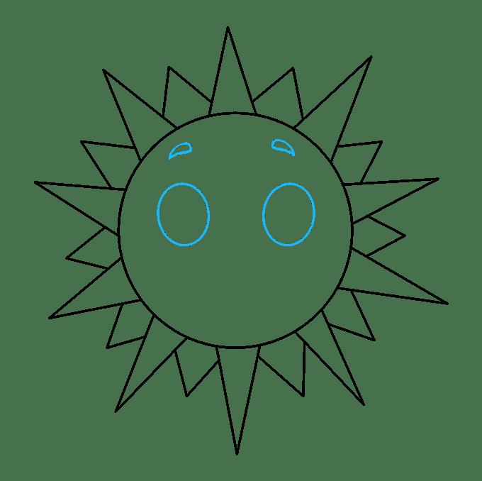 Cách vẽ mặt trời: Bước 6
