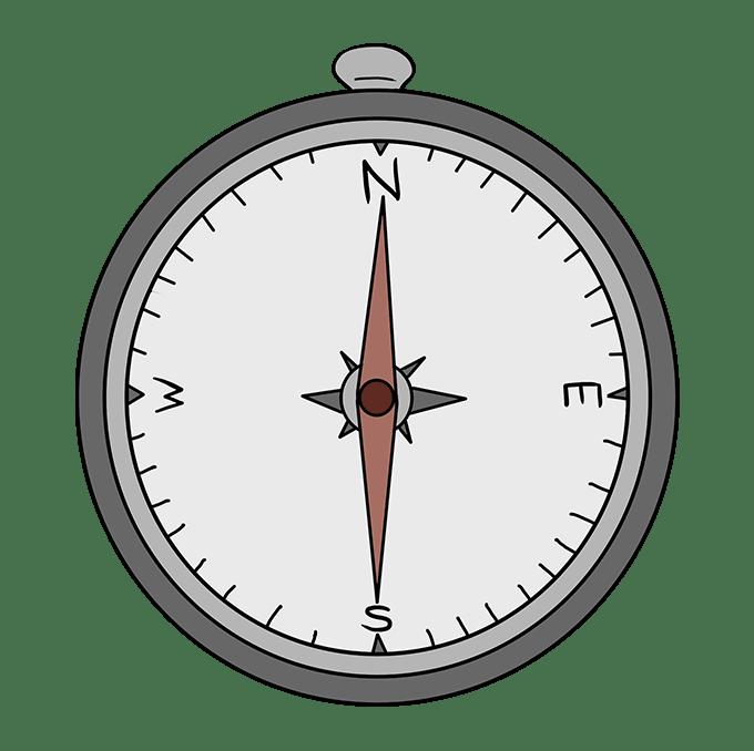Cách vẽ La bàn: Bước 10
