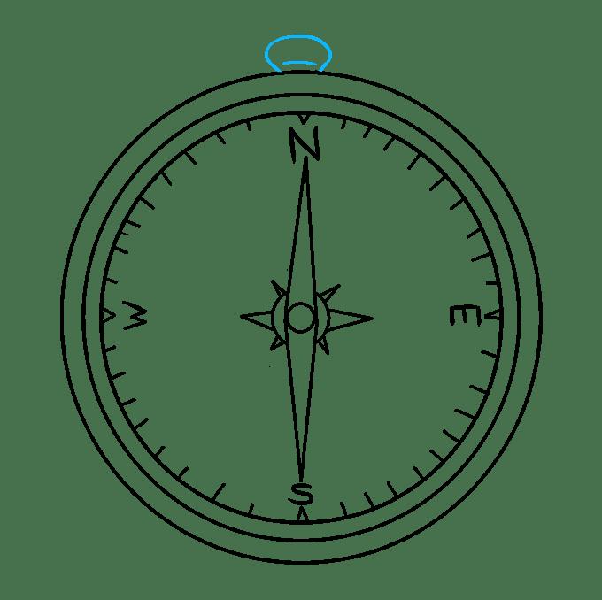 Cách vẽ La bàn: Bước 9
