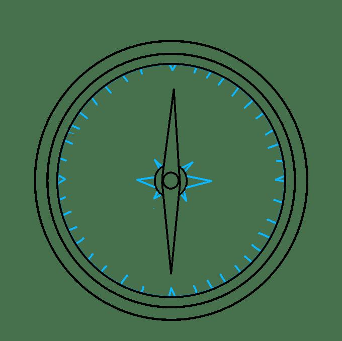 Cách vẽ La bàn: Bước 7