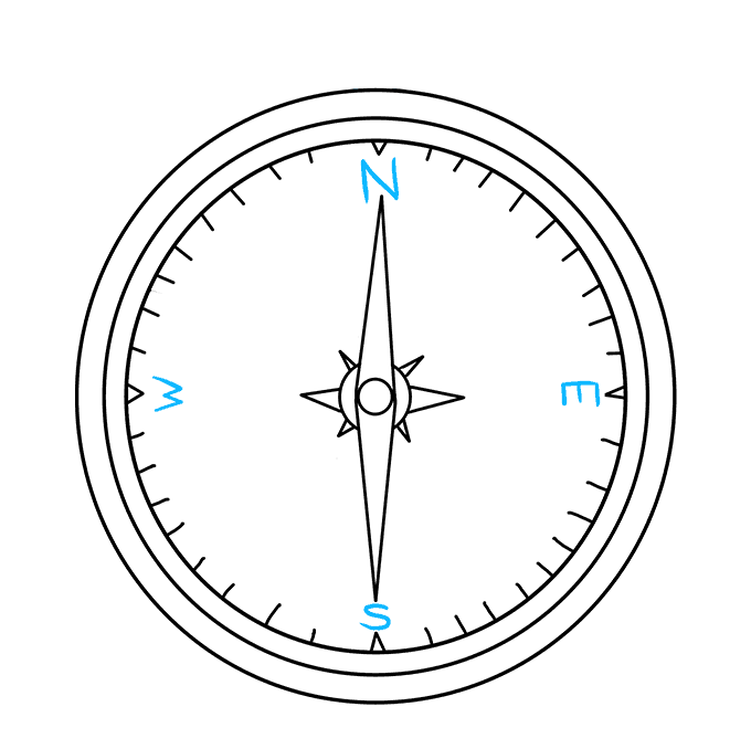 Cách vẽ La bàn: Bước 8