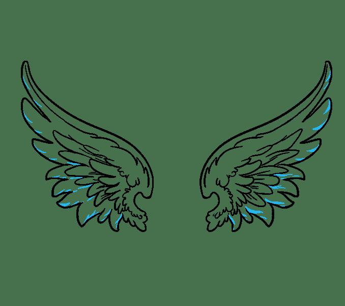 Cách vẽ đôi cánh thiên thần: Bước 16