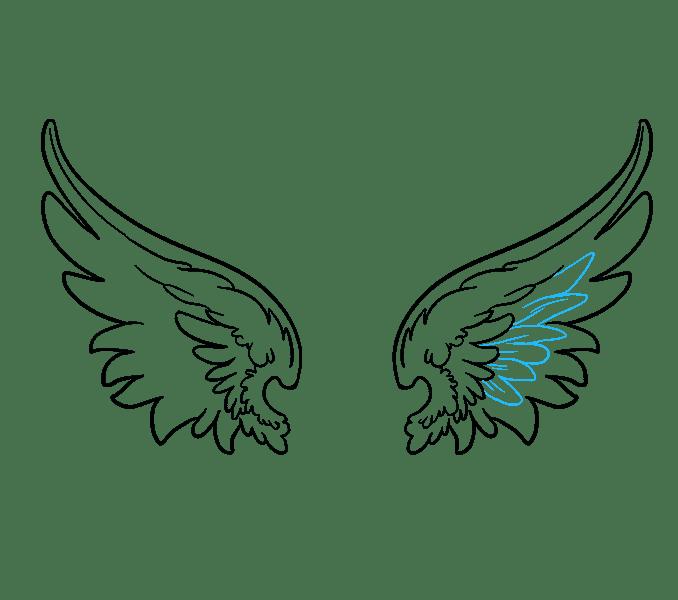 Cách vẽ đôi cánh thiên thần: Bước 14