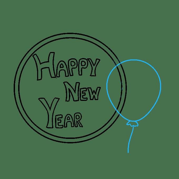 Cách vẽ chúc mừng năm mới 2018: Bước 5