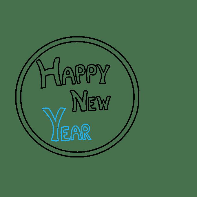 Cách vẽ chúc mừng năm mới 2018: Bước 4