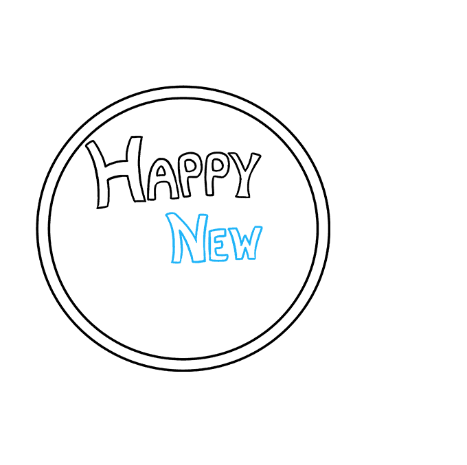 Cách vẽ chúc mừng năm mới 2018: Bước 3
