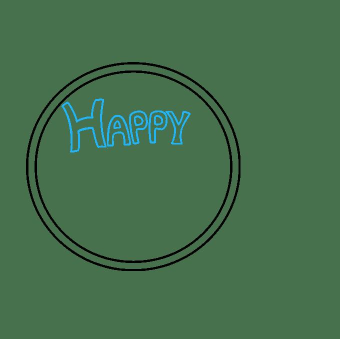 Cách vẽ chúc mừng năm mới 2018: Bước 2