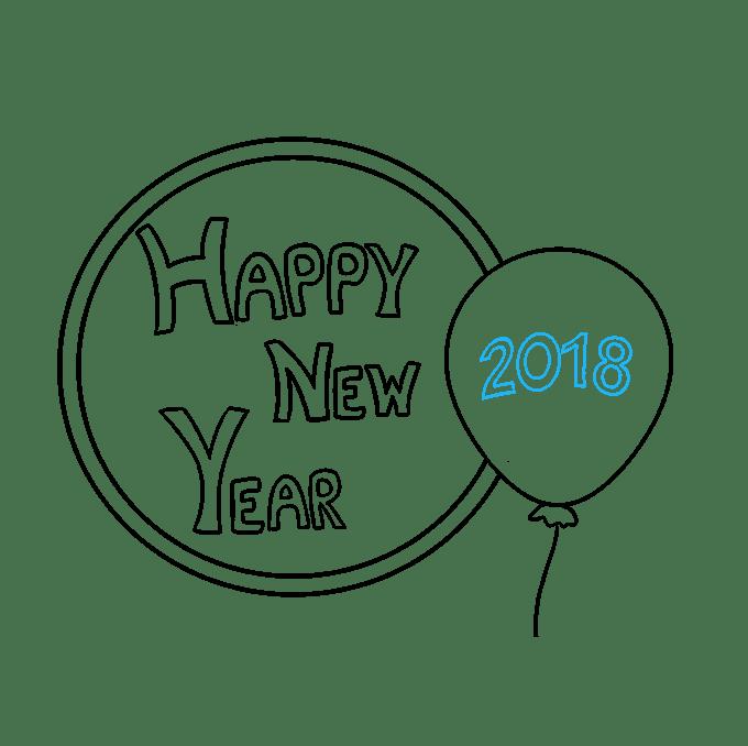Cách vẽ chúc mừng năm mới 2018: Bước 7