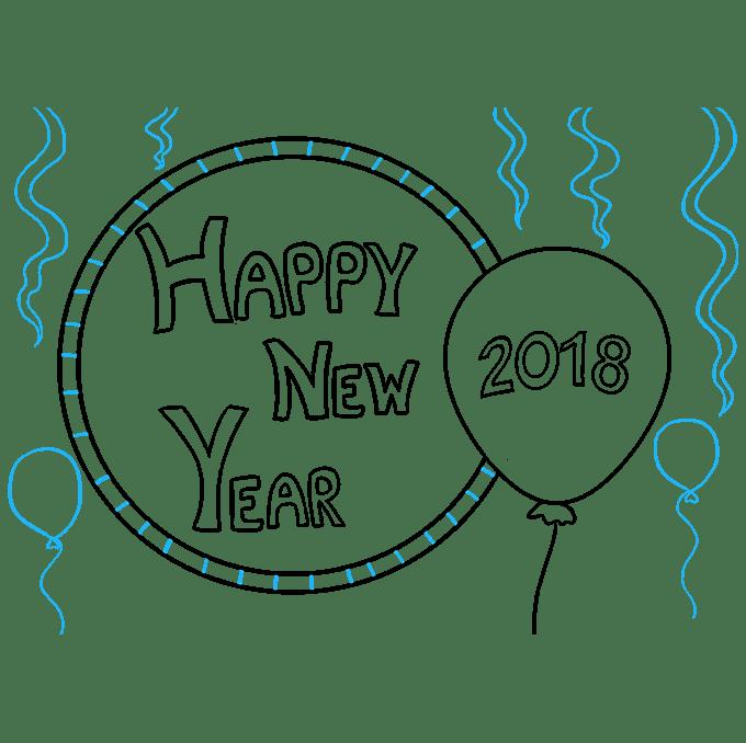 Cách vẽ chúc mừng năm mới 2018: Bước 8