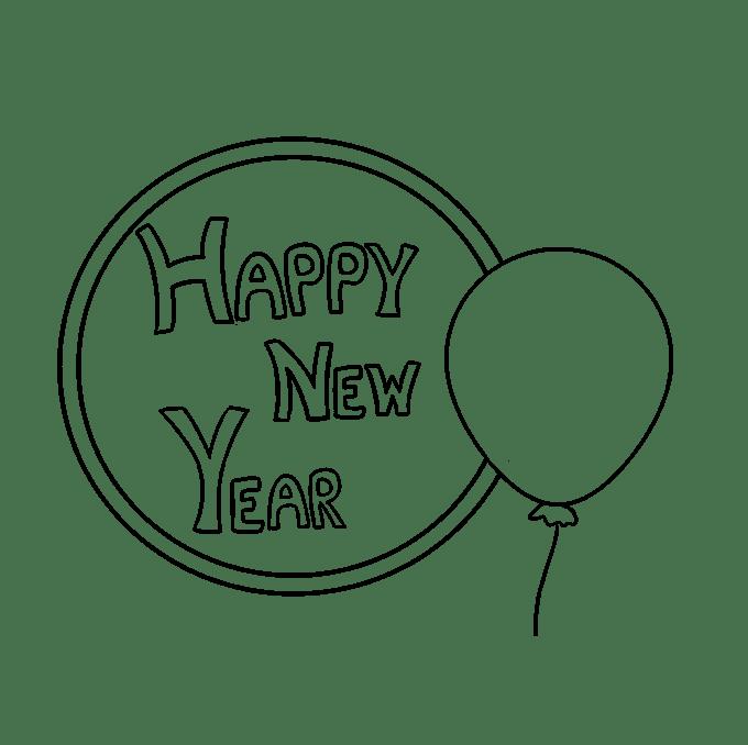 Cách vẽ chúc mừng năm mới 2018: Bước 6