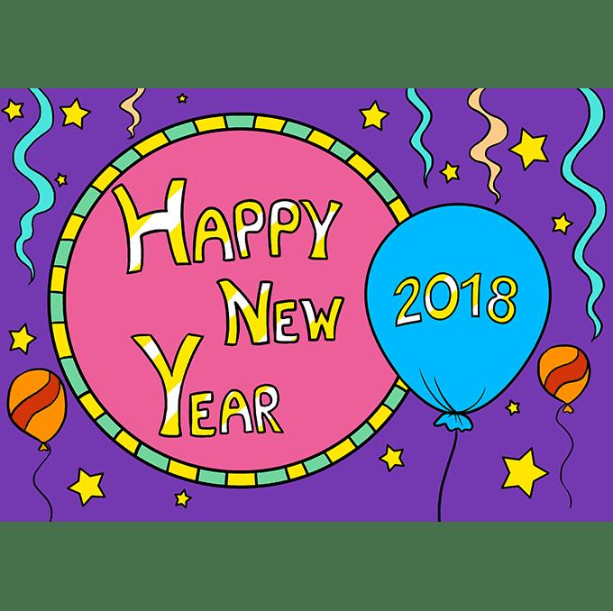Cách vẽ chúc mừng năm mới 2018: Bước 10