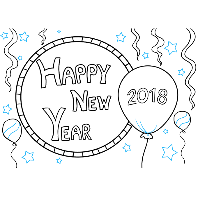 Cách vẽ chúc mừng năm mới 2018: Bước 9