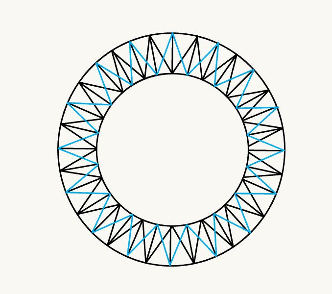Cách vẽ mặt trời hoạt hình: Bước 8