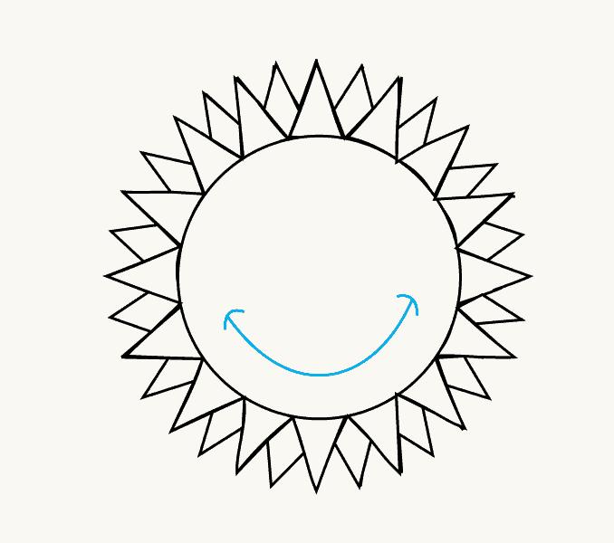Cách vẽ mặt trời hoạt hình: Bước 11