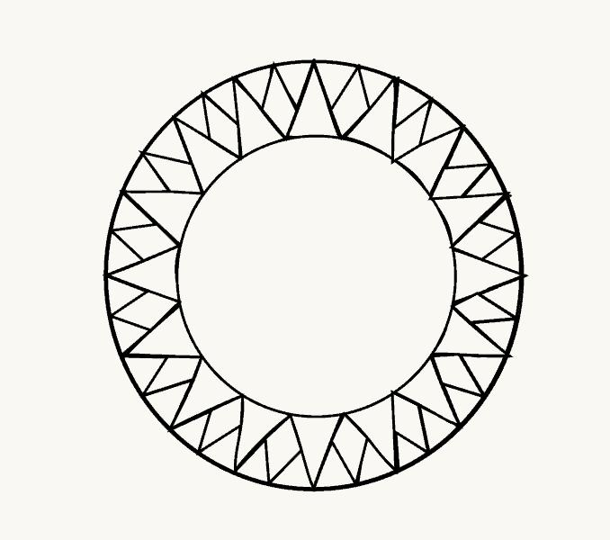 Cách vẽ mặt trời hoạt hình: Bước 10