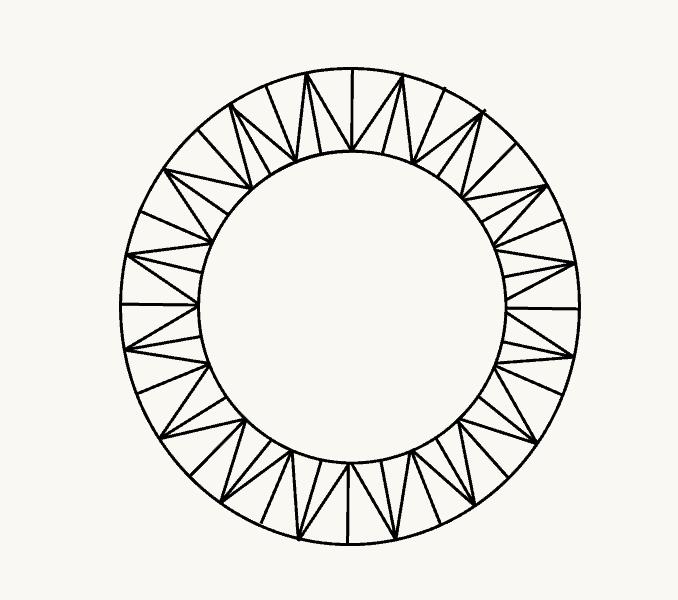 Cách vẽ mặt trời hoạt hình: Bước 7