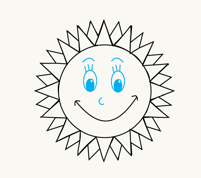 Cách vẽ mặt trời hoạt hình: Bước 12