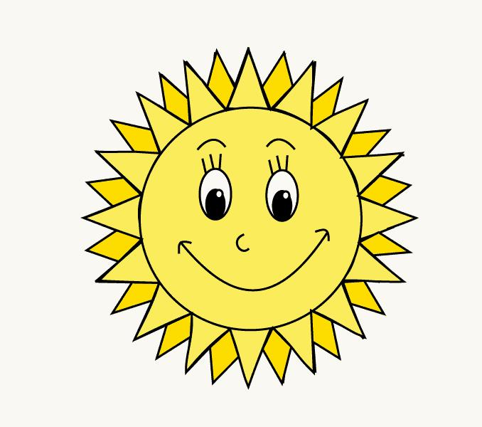 Cách vẽ mặt trời hoạt hình: Bước 13