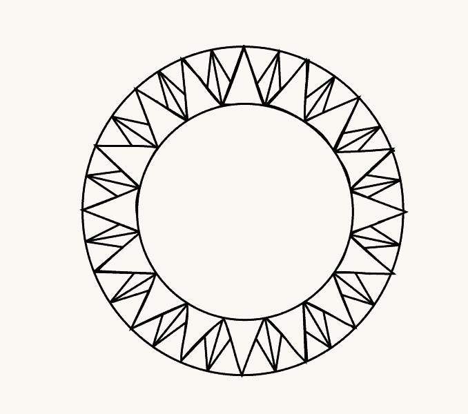 Cách vẽ mặt trời hoạt hình: Bước 9