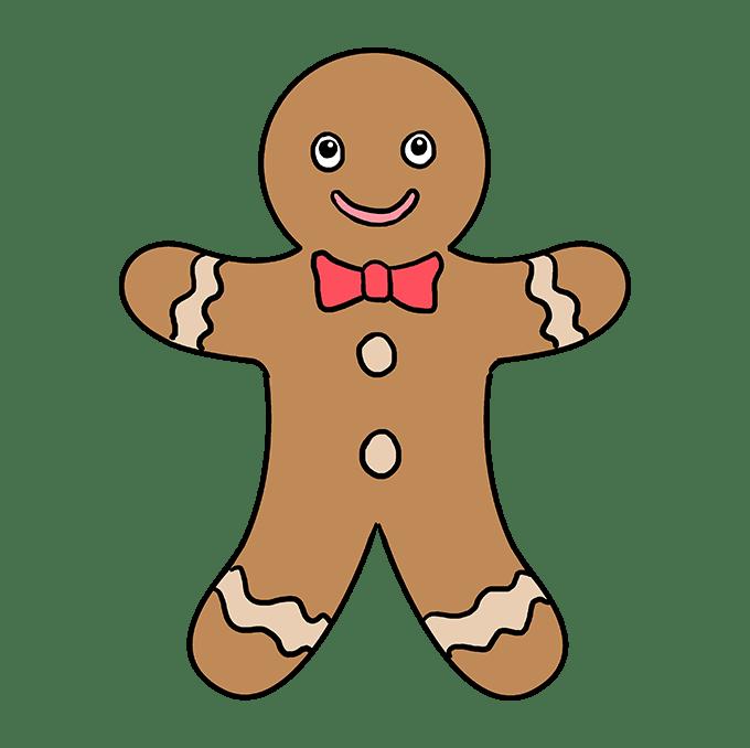 Cách vẽ Gingerbread Man: Bước 10