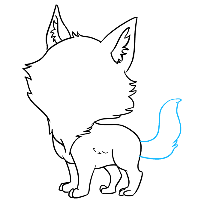 Cách vẽ Sói Chibi: Bước 7