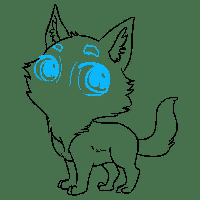 Cách vẽ Sói Chibi: Bước 8