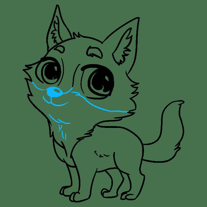 Cách vẽ Sói Chibi: Bước 9