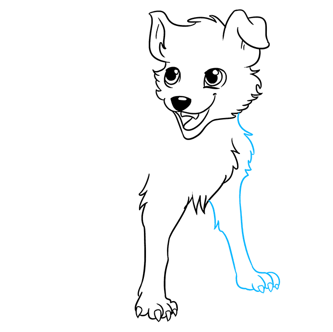 Cách vẽ chó Anime: Bước 7