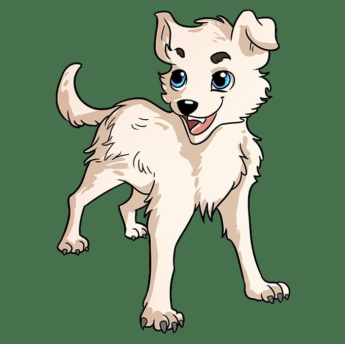 Cách vẽ chó Anime: Bước 10
