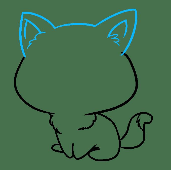 Cách vẽ mèo Chibi: Bước 7