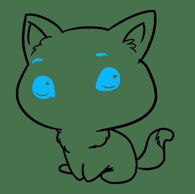Cách vẽ mèo Chibi: Bước 8