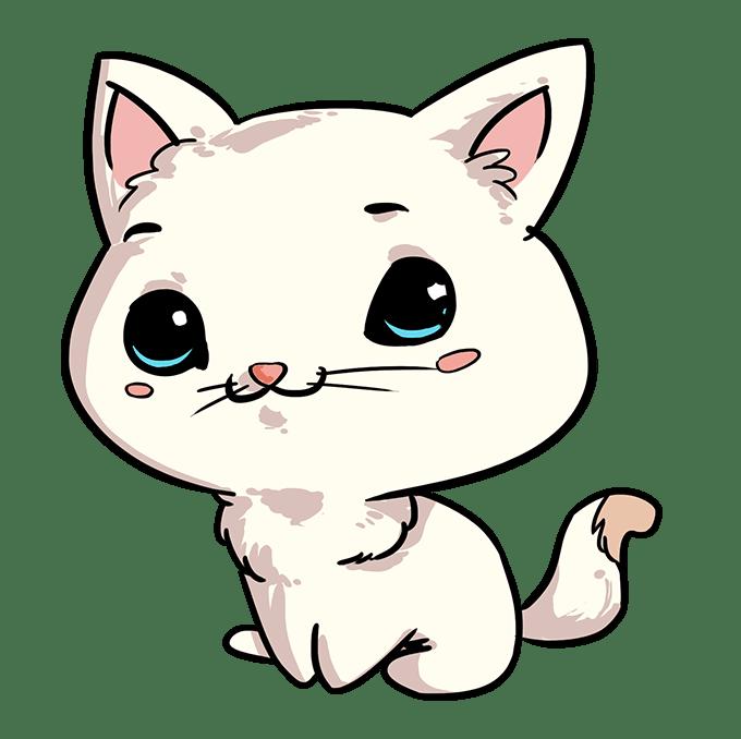 Cách vẽ mèo Chibi: Bước 10