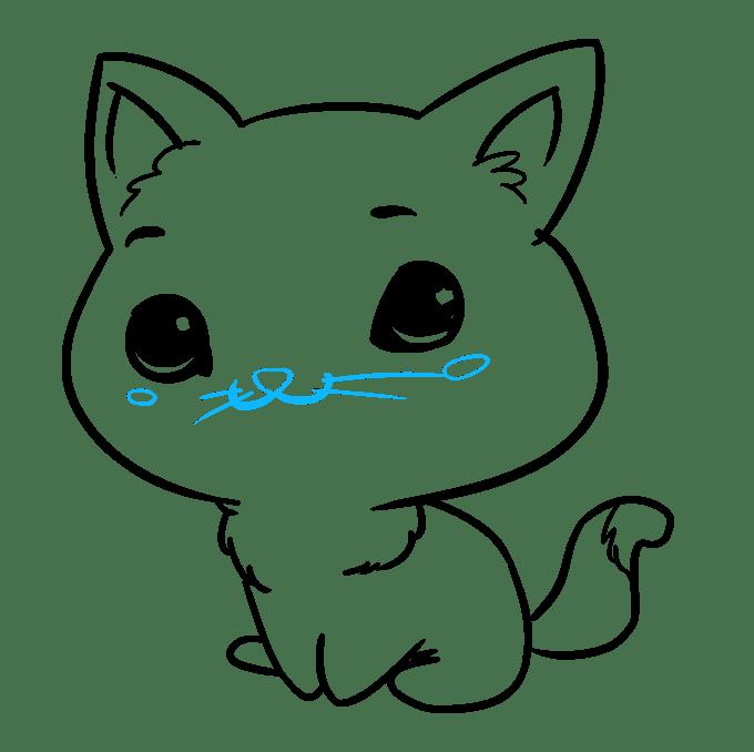 Cách vẽ mèo Chibi: Bước 9