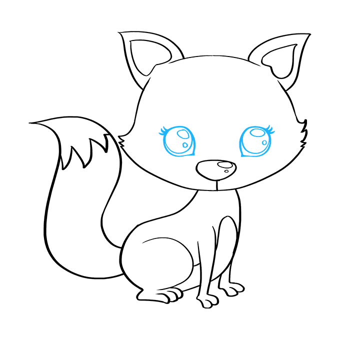 Cách vẽ con cáo con: Bước 8