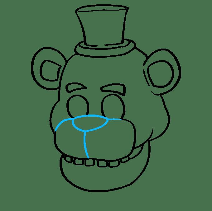 Cách vẽ Freddy Fazbear tại Five Nights tại Freddy's: Bước 7