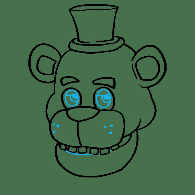Cách vẽ Freddy Fazbear tại Five Nights tại Freddy's: Bước 8