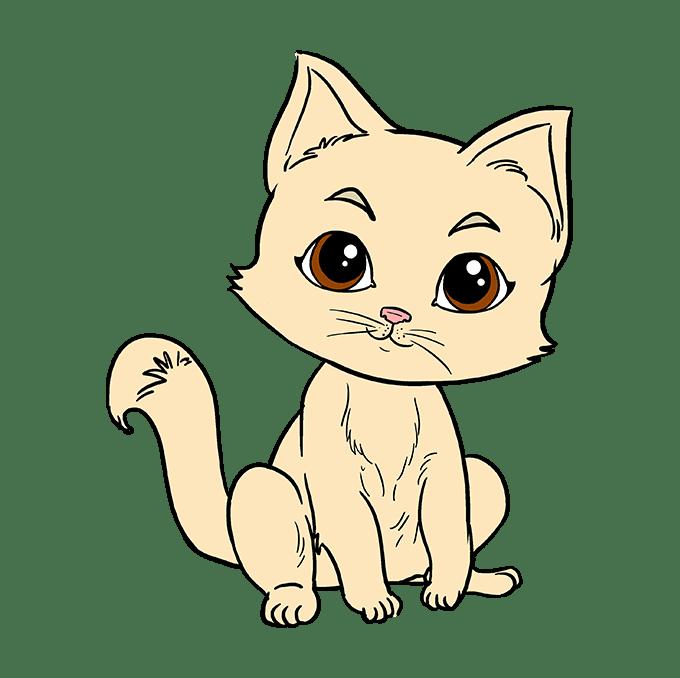 Cách vẽ mèo con: Bước 10