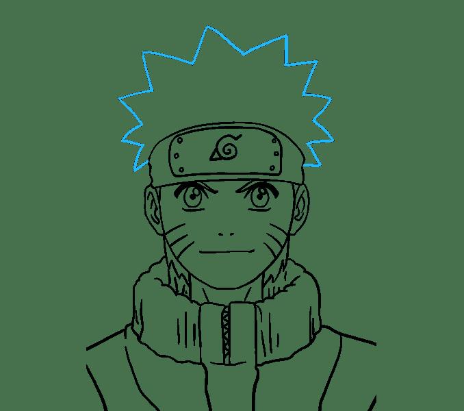 Cách vẽ Naruto: Bước 19