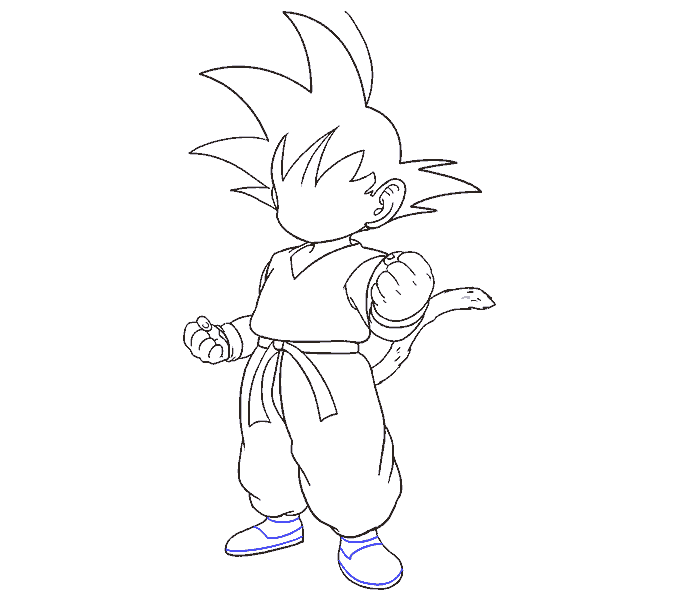 Cách vẽ Goku: Bước 17