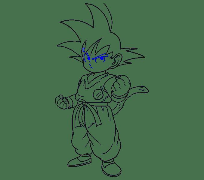 Cách vẽ Goku: Bước 19