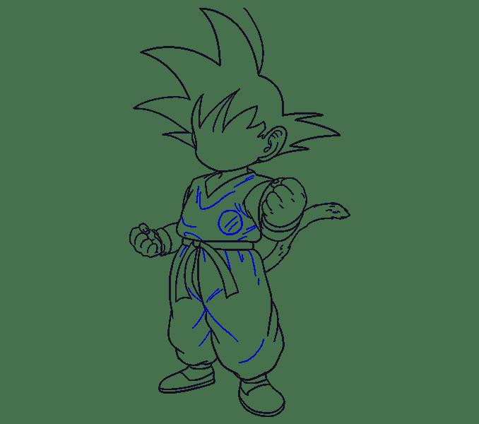 Cách vẽ Goku: Bước 18
