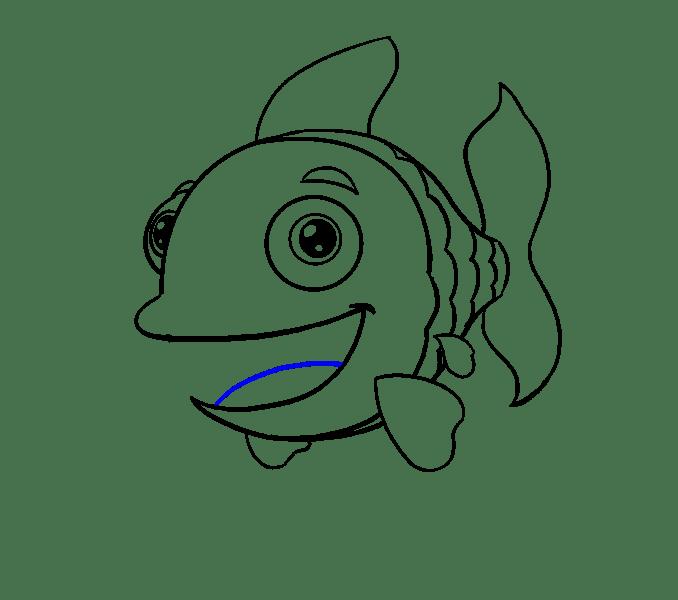 Cách vẽ cá hoạt hình: Bước 16