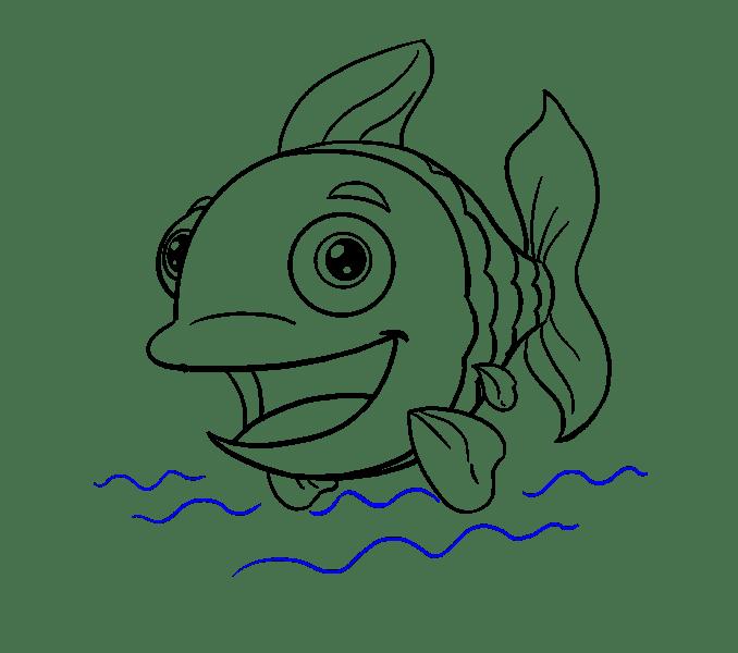 Cách vẽ cá hoạt hình: Bước 19