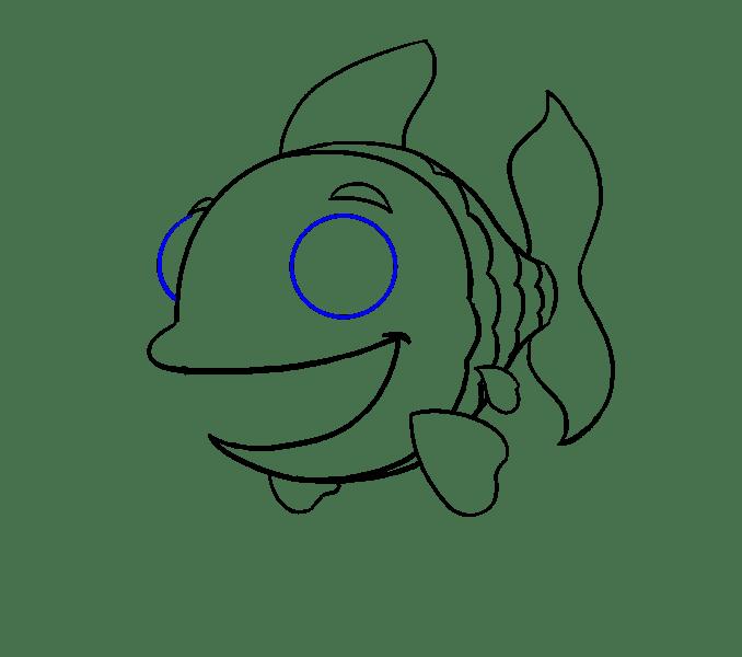 Cách vẽ cá hoạt hình: Bước 14