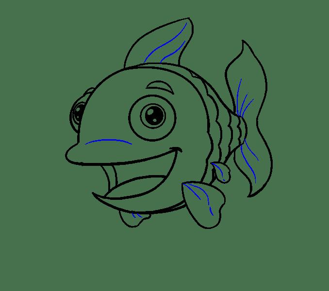 Cách vẽ cá hoạt hình: Bước 18