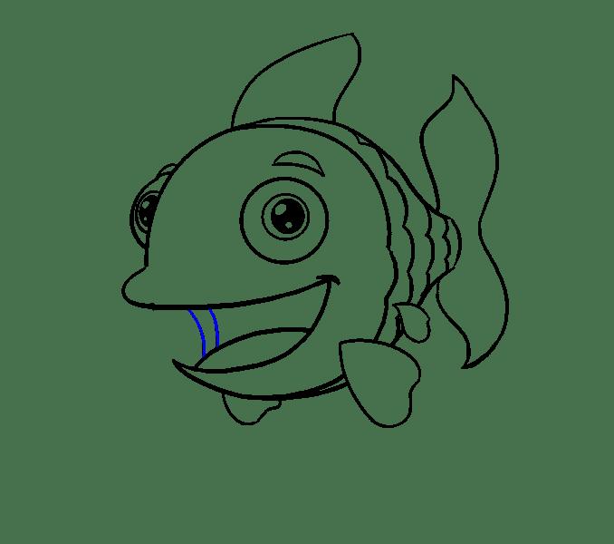 Cách vẽ cá hoạt hình: Bước 17