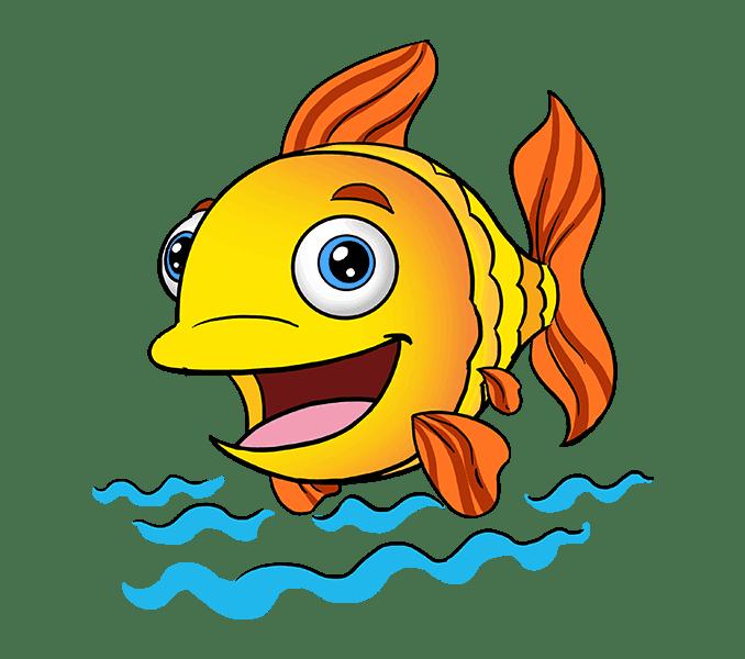 Cách vẽ cá hoạt hình: Bước 20