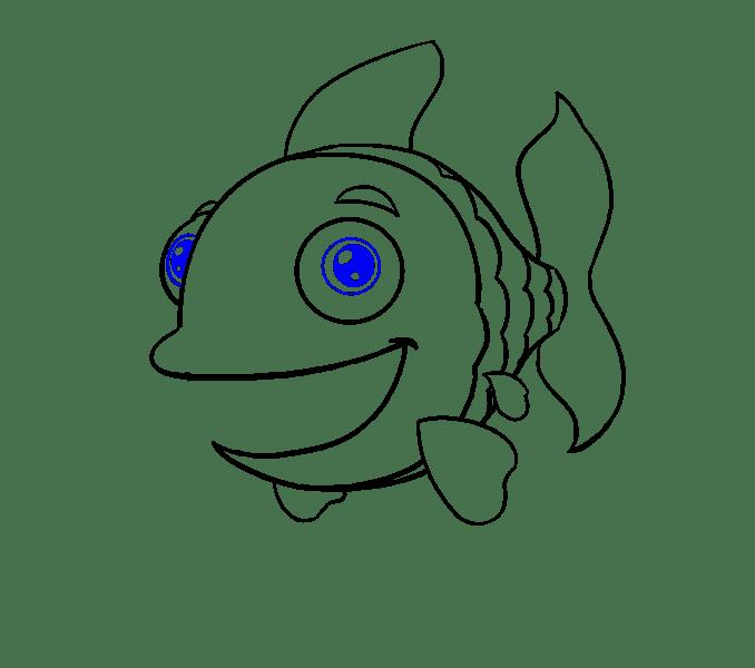 Cách vẽ cá hoạt hình: Bước 15